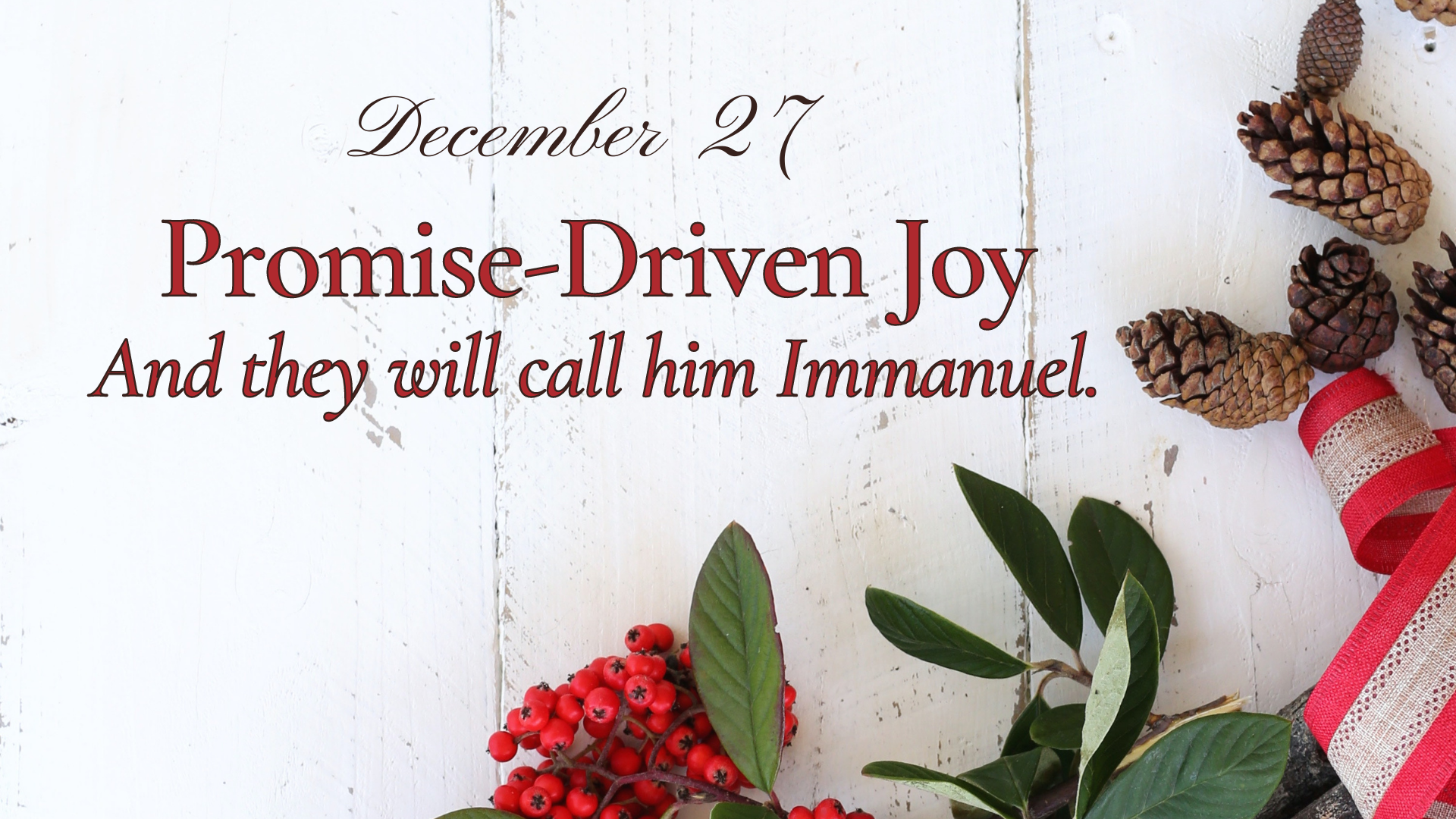 Promise-Driven Joy: And they will call him Immanuel.